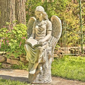 "46"" Tall Sitting Magnesium Angel Statue Reading Book ""Dina"""