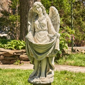 "37"" Tall Magnesium Angel Birdbath With The Bird ""Mary"""