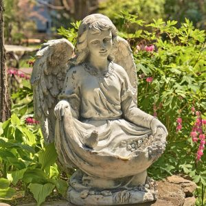 "24"" Tall Kneeling Angel Birdbath With The Birds ""Cassiel"""