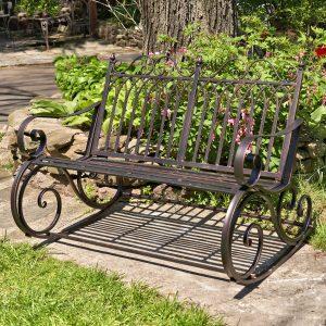 "Iron Rocking Garden Bench ""Tatiana"" in Bronze"