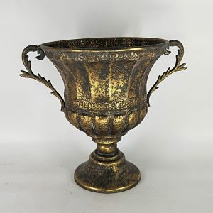 Round Iron Urn with Ornate Handles