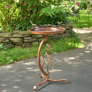 "Galvanized Birdbath on Branch Stand ""New Britain"" in Antique Copper Color"