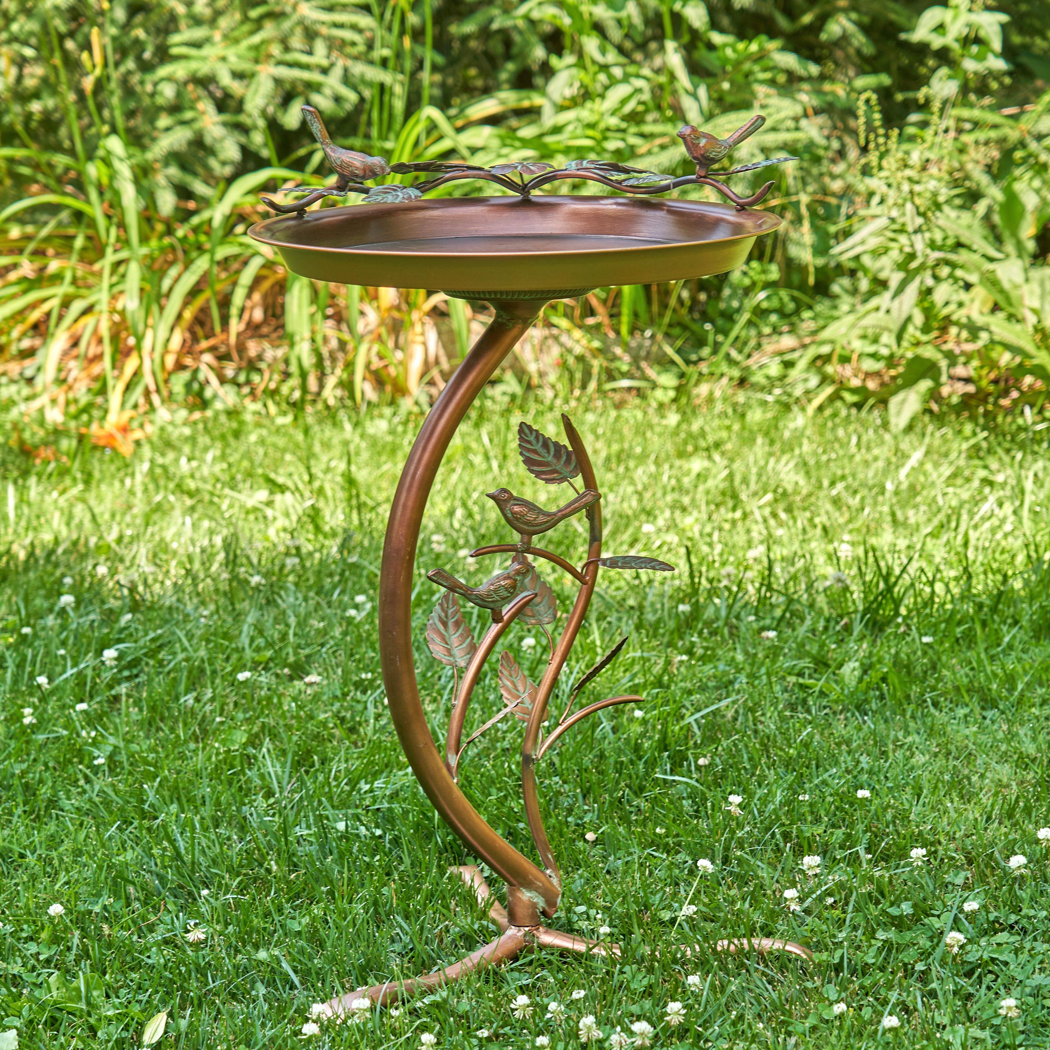 "Iron Copper Finished Birdbath on Branch Stand ""New Britain"""