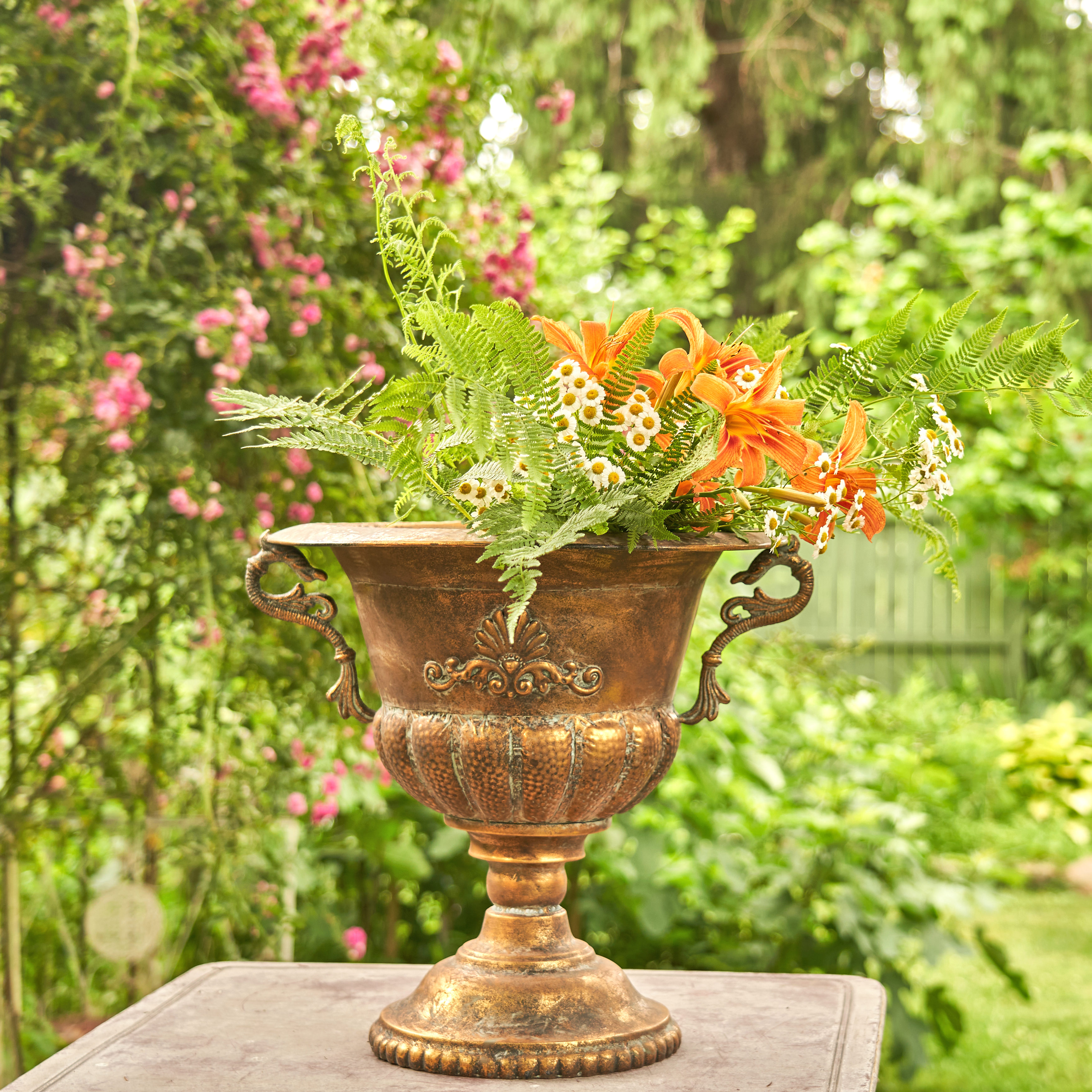 Large Iron Urn with Handles in Antique Gold