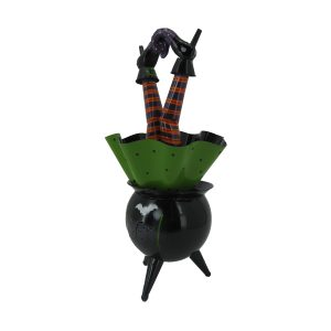 """Bewitched"" Halloween Cauldron with Witch Legs & Light"