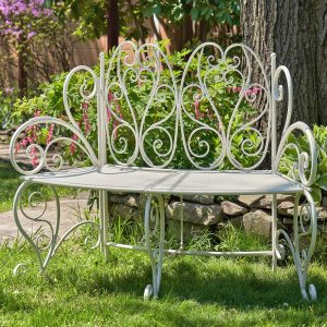 """Galina"" Folding Curved Garden Bench in Antique White"