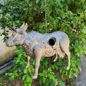 Galvanized Hanging Animal Birdhouse - Cow
