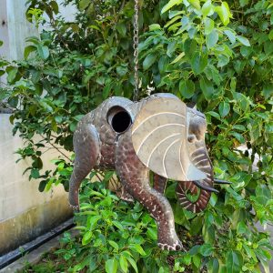 Galvanized Hanging Animal Birdhouse - Elephant