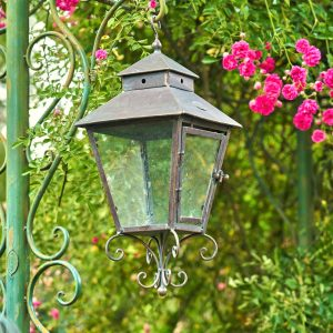 Hanging Iron Garden Lantern in Bronze