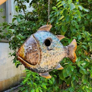 Galvanized Hanging Coastal Birdhouse - Fish