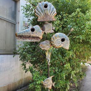 Coastal Style Birdhouse Stake - Seashells