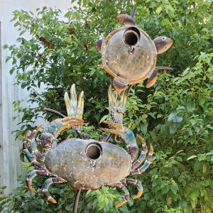 Coastal Style Birdhouse Stake - Sea Turtle & Crab