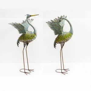 "Set of 2 47"" Tall Grey Iron Herons"