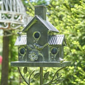 Classic Style Galvanized Birdhouse Stake with Tall Chimney