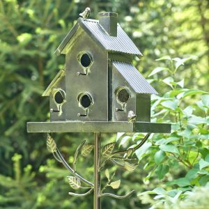 Classic Style Galvanized Birdhouse Stake with Short Chimney