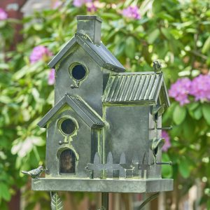 Galvanized Condo Birdhouse Stake with Fence