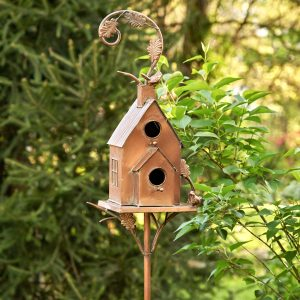 Two Tier Classic Home Copper Color Birdhouse Stake
