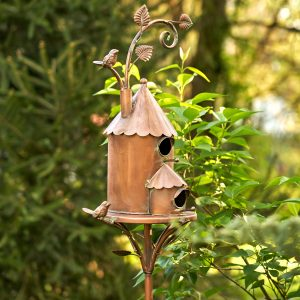 Two Story Farmhouse Copper Color Birdhouse Stake