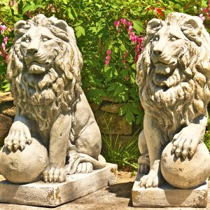 "27"" Tall Set of Magnesium Lion Sentry Statues With Ball ""Leo"""