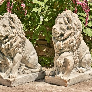 "21"" Tall Set of 2 Magnesium Guardian Lion Statues with FleurDeLis ""Harold & Leo"""