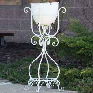 Antique White Iron Flower Pot and Stand