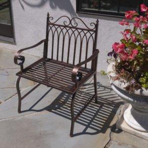 """""""Valley Forge"""" Iron Garden Arm Chair in Antique Bronze"""