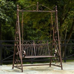 Tserovani Iron Swing Bench in Antique Bronze